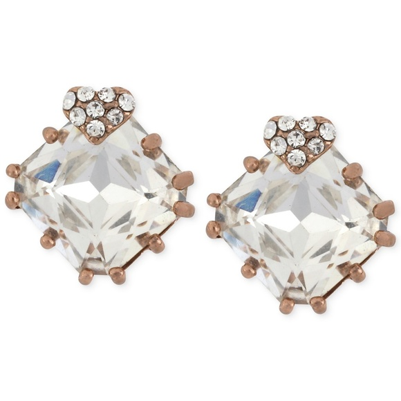 Betsey Johnson Jewelry - Betsey Johnson Rose Heart and Square Crystal Studs